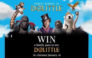 Daily Mail – Dolittle – Win 1 of 25 family tickets to an in-season cinema screening of Dollittle