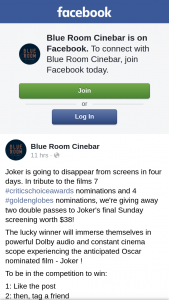 Blue Room Cinebar Brisbane – Two Double Passes to Joker's Final Sunday Screening Worth $38