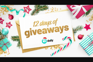 10 daily Advent Calendar 12 Days of Giveaways – Competition (prize valued at $1,283.75)