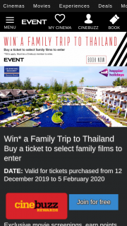 Event Cinemas – Cinebuzz – and Buy Your Tickets Today (prize valued at $6,200)