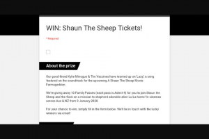 Frontier Touring – 10 Family Passes (each Pass Is Admit 4) for You to Join Shaun The Sheep and The Flock on a Mission to Shepherd Adorable Alien Lu-La Home