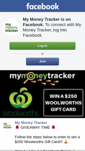 My Money Tracker – Win a $250 Woolworths Gift Card (prize valued at $250)