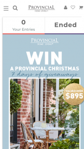Provincial Home Living – Will Be (prize valued at $895)