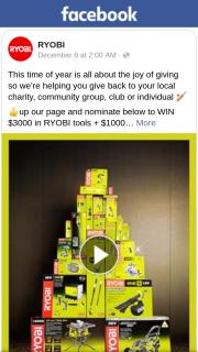 RYOBI – Win a Ryobi Prize Pack (prize valued at $5,000)