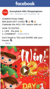 Sunnybank Hills Shoppingtown – Win $100 Gift Card