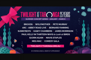 TWILIGHT at TARONGA'S 12 Days of Christmas – (and Their Guests) Are Responsible for Expenses Incurred for Travel to and From Departure Point (prize valued at $98)