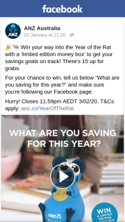 ANZ Australia – Win One of Fifteen Lunar New Year Year of The Rat Money Boxes (prize valued at $9.95)