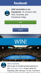 ANZ – Win Tickets to the Australian Open for Saturday 25th January