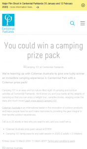 Centennial Parklands [Sydney} – Win a Coleman Australi Pack Plus a Family Pass to Camping 101 (prize valued at $1,855)
