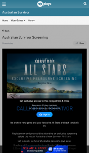 Channel Ten – Win Survivor All Stars Screeneeninhg 2 Feb Melbourne (prize valued at $1)