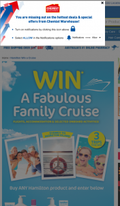 Chemist Warehourse – Win a Cruise / Terms