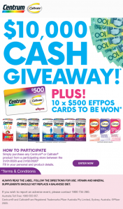 Chemist Warehouse & Centrum – Win One (1) Aud$10000 Cash Prize Provided to The Winner By Cheque (prize valued at $15,000)
