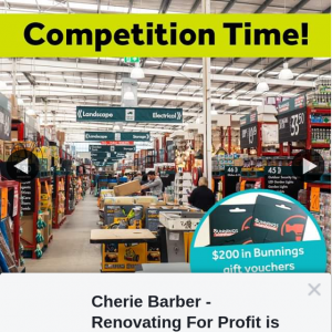 Cherie Barber Renovating for Profit – Win $200 In Bunnings Gift Cards