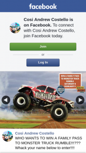 Cosi Andrew Costello – Win a Family Pass to Monster Truck Rumble??