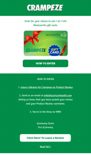 Crampeze – Win 1 of 3 $30 Woolworths Gift Cards (prize valued at $90)