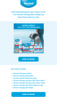 Dermal Therapy – Win 1 of 3 Dermal Therapy Skin & Body Care Travel Packs Valued at $50. (prize valued at $50)