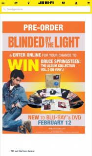 JB HiFi Pre-order Blinded By The Light to – Win a Copy of Bruce Springsteen (prize valued at $340)