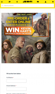 JB HiFi Pre-order Jumanji – Win Kevin Hart's Backpack From The Movie (prize valued at $500)