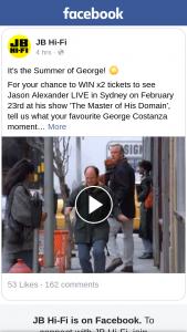 JB HiFi – X2 Tickets to See Jason