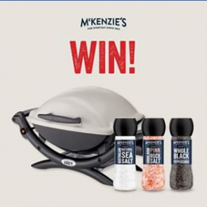McKenzie's Grinder Aussie BBQ Competition – Win a Weber Baby Q (q1000) Lp Bbq and a Pack of Mckenzie's Grinders to The Value of $380 (prize valued at $384)