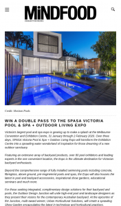 MindFood – Win a Double Pass to The Spasa Victoria Pool & Spa Outdoor Living Expo  (prize valued at $39)