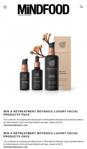 MindFood – Win an Amazing All-Natural Pack of Retreatment Botanics Luxury Facial Products By Olivia Newton-John and Gaia Retreat and Spa (prize valued at $273)