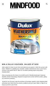 MindFood – Win $250 Worth of Weathershield Paint (prize valued at $250)