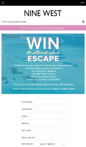 Nine West Australia – Win The Ultimate Island Escape Club Med (prize valued at $10,000)