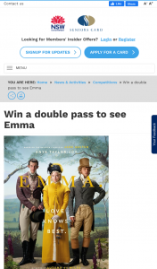 NSW Seniors Card – Win a Double Pass to See Emma