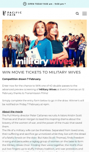 Pacific Fair Shopping Centre – Win Movie Tickets to Military Wives