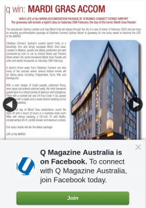 Q Magazine Australia – Win a Life of The Mardi Accomodation Package at Citadines Connect Sydney Airport (prize valued at $250)