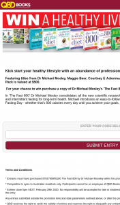 QBD Books – Win a Healthy Living Book Pack Purchase Dr Michael Mosley's The Fast 800 Book (prize valued at $500)