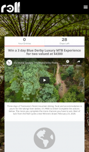 Roll Cycles – Win a 3 Day Blue Derby [tasmania] Luxury MTB Experience for Two (prize valued at $4,300)