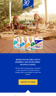 30 Seconds – Win a 30 Seconds Summer Clean-Pp Prize Pack (prize valued at $750)
