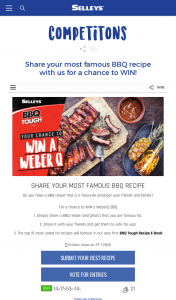Selleys BBQ Tough Recipe E-Book – Win a Weberq Bbq and Be Featured In The First Ever Bbq Tough Recipe E-Book (prize valued at $469)