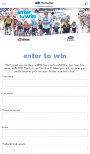 Subaru – 99 Bikes – Win The 'prize Package' Valued at Aud$2899 Incl (prize valued at $2,899)