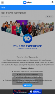 Channel Ten – Win a Prize In this Competition (prize valued at $3,000)