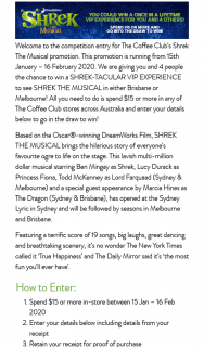 The Coffee Club – Win a Shrek-Tacular VIP Experience to See Shrek The Musical In Either Brisbane Or Melbourne (prize valued at $24,500)