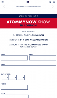 Tommy Hilfiger – Win a Trip for 2 to London to a Tommynow Show (prize valued at $9,500)