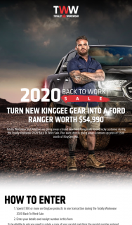 Totally Workwear and KingGee – Win a Ford Ranger 4×4 Xlt Double Cab (prize valued at $54,990)