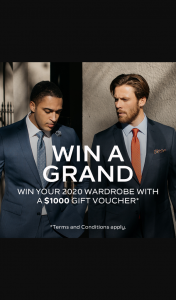 Van Huesen – Win Your 2020 Wardrobe (prize valued at $1,000)