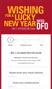 Vicinity Centres – Win 1 of 8 $200 Dfo Gift Cards (prize valued at $1,600)