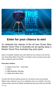 Weber – Win The First Ever Ocean Blue Master-Touch Plus In Australia (prize valued at $1,004)