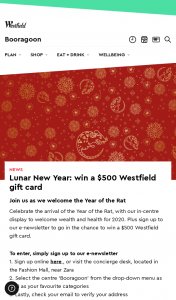 Westfield – Win a $500 Westfield Gift Card (prize valued at $500)