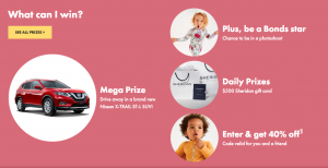 BONDS – Baby Search 2020 – Win prizes for Bonds Baby of the Year; Bonds Fur Bany of the Year & Bonds Wonderbumps of the Year including a Nissan X-Trail in Ruby Red and more