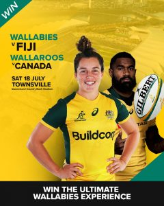 Rugby Australia – Win 1 of 2 double tickets to Wallabies v Fiji at North Queensland Stadium in Townsville