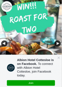 Albion Hotel Cottesloe – Win Roast Dinner & Wine for Two