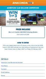 Anaconda – Win 1 of 3 Garmin Uhd 95sv Echomap Models Each Valued at $1899