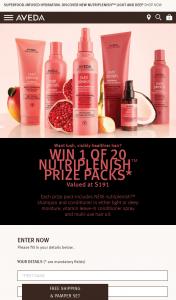 Aveda – Estee Lauder – Win 1/20 X Aveda Nutriplenish Prize Packs (prize valued at $3,820)