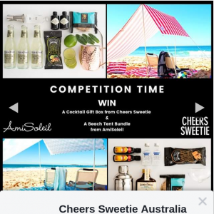 Cheers Sweetie Australia – Win Everything You Need to Make That Picture a Reality.. (prize valued at $300)